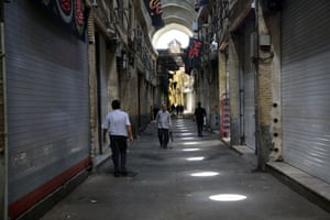 Shops closed in Tehran on Monday.