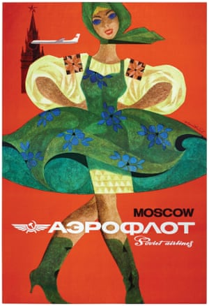 Moscow is touted as a destination at the hub of the airline in this poster designed by Nikolai Litvinov from the early 60s