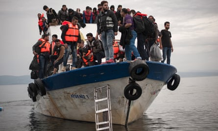 Refugees arrive from Turkey on the Greek island of Lesbos.