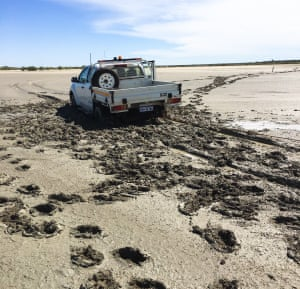 A ute Brigid was traveling in bogged on the salt pan