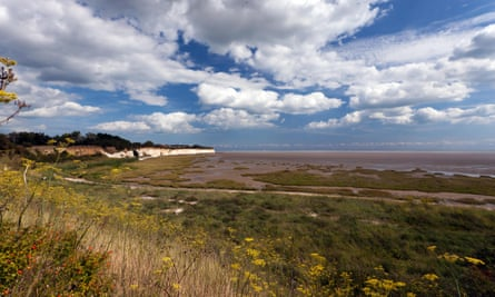 Wide-angle view of Pegwell Bay Nature Reserve, Kent