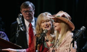 "Garrison Keillor performing with Meryl Streep and Lindsay Lohan in the 2006 movie ""A Prairie Home Companion""."