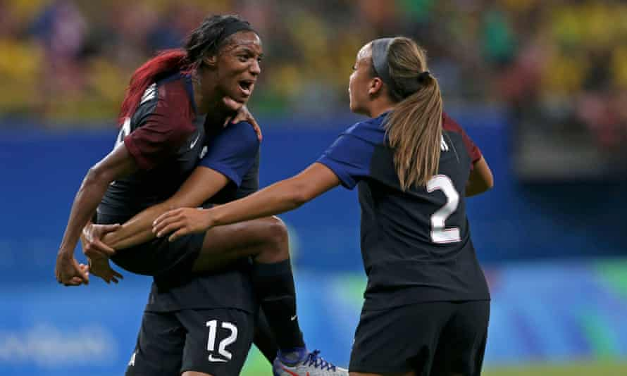 Crystal Dunn celebrates with Christen Press and Mallory Pugh after scoring against Colombia. Dunn has added energy to the USA's attack in 2016.