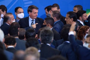 17 June: Bolsonaro at the ceremony for the new minister of communications, Fábio Faria, at the Planalto Palace in Brasília.
