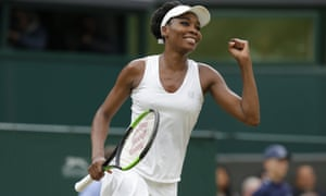 Venus Williams beat Jelena Ostapenko 6-3, 7-5 to move into the Wimbledon semi-finals.