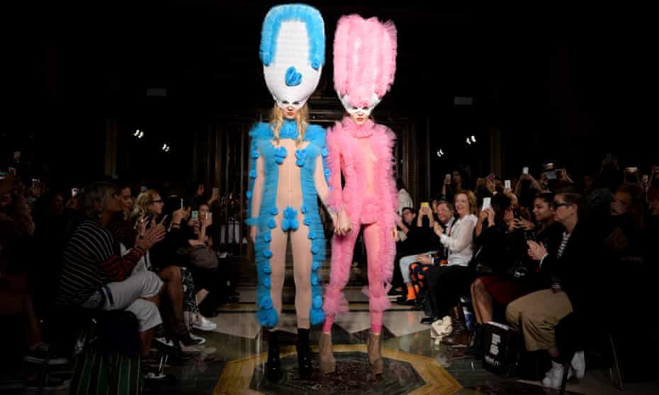 Models at the Pam Hogg show on the first day of London fashion week.