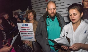 An NHS student nurse in London last month speaking in support of junior doctors