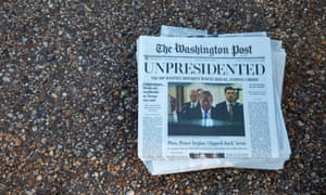 The paper, which was printed on a broadsheet eerily similar to the real Washington Post, was dated 1 May 2019.