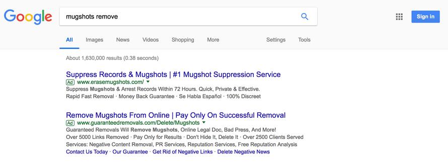 Google ads for mugshot removal services.