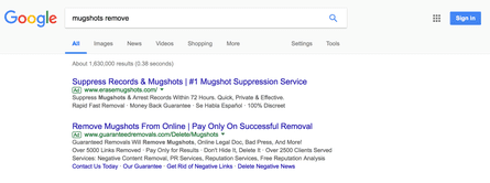 Google ads for mugshot removal services.