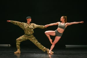 Cardiff, Wales: Trooper Alex Smith of 1st the Queen's Dragoon Guards poses with his dance partner, Harriet Ellis, during rehearsals for a production about military life called 10 Soldiers by the Rosie Kay dance company