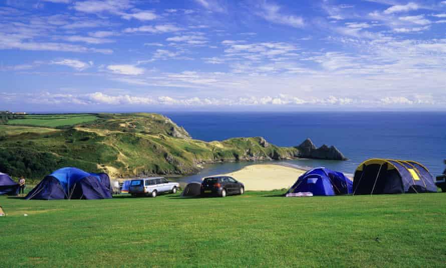 Three Cliffs Bay campsite near Swansea, Wales
