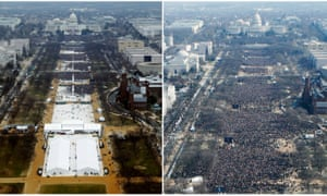 A combination of photos shows the crowds attending the inauguration ceremonies of Donald Trump, left, and Barack Obama. These pictures were taken by Reuters, and were not the edited NPS images.