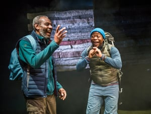 Tyrone Huggins and Tonderai Munyevu in Black Men Walking by Testament at the Royal Exchange, Manchester, directed by Dawn Walton in 2018.