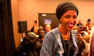 Ilhan Omar, newly elected to the U.S. House of Representatives on the Democratic ticket, arrives for her victory party on election night in Minneapolis, Minnesota on November 6, 2018
