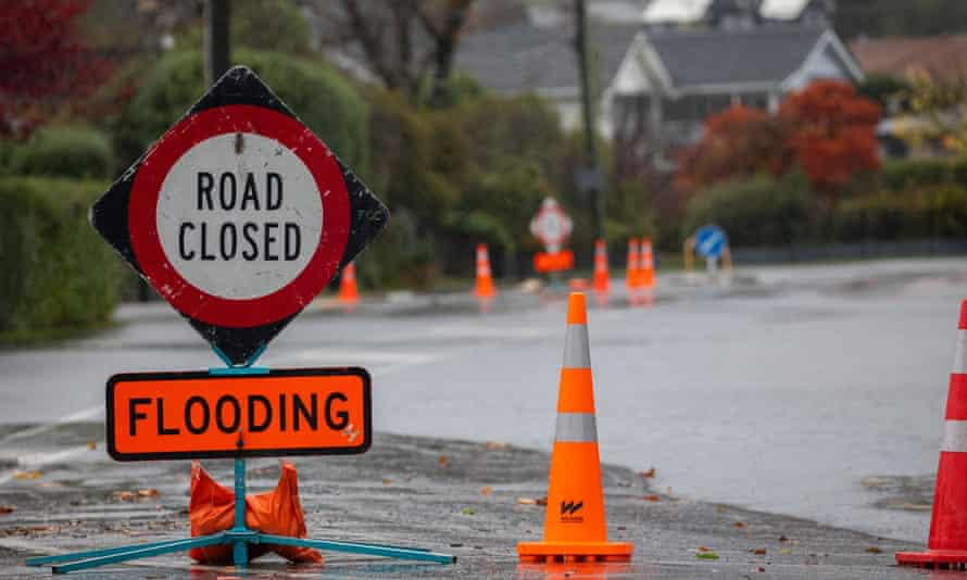 Heavy Rain Causes Flooding In Canterbury Region, Christchurch, New Zealand - 30 May 2021Mandatory Credit: Photo by Sanka Vidanagama/NurPhoto/REX/Shutterstock (11985297c) A road closed sign next to floodwater in Christchurch, New Zealand on May 30, 2021. MetService has put in place code red severe weather warning for the Canterbury region. Heavy Rain Causes Flooding In Canterbury Region, Christchurch, New Zealand - 30 May 2021