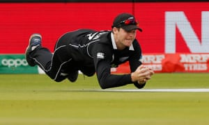 Lockie Ferguson dives to catch out Eoin Morgan in the final, one of many instances of phenomenal New Zealand outcricket.