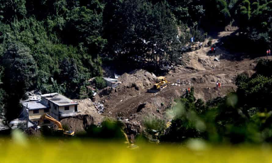 Site of the landslide in Santa Catarina Pinula, Guatemala City.