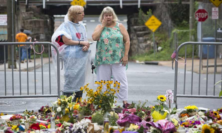 A memorial at 4th and Water Streets, where Heather Heyer was killed when a car rammed into a group of counterprotesters last weekend.