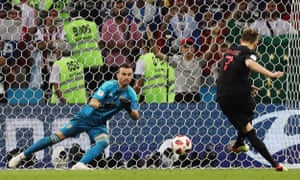 Rakitic sends Igor Akinfeev the wrong way to seal a penalty shootout victory for Croatia over Russia.