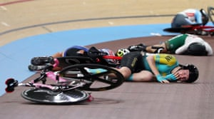 Kazakhstan's Rinata Sultanova (front) and other cyclists after a crash during their women's omnium scratch race