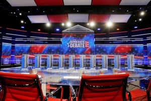 The set and ten podiums for the next Democratic presidential debate.