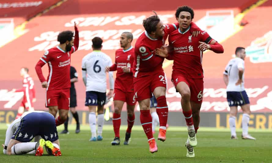 Trent Alexander-Arnold celebrates scoring Liverpool's winner against Aston Villa in added time