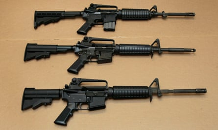 Three variations of the AR-15 assault rifle.