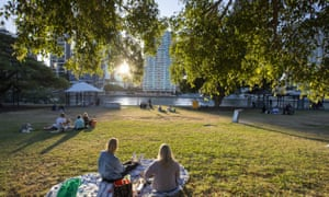 Picnics in a park on the Brisbane River were allowed, under relaxed social distancing rules, from Saturday.