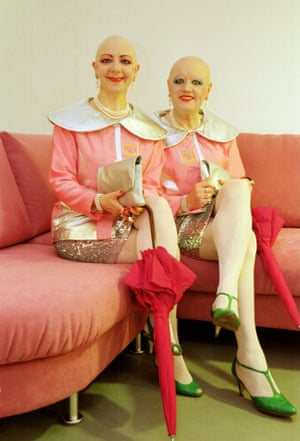 Berlin duo EVE & ADELE claim to have come from the future. With their bald heads, futuristic makeup and matching costumes they have become art-world royalty. Their entire lives are lived as a public art performance.