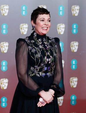 Olivia Colman's art nouveau florals and soft poet sleeves were like a sequel to the Prada outfit she wore when winning her Oscar last year. Although not nominated for a Bafta this time around, she was a strong contender for some fashion praise.