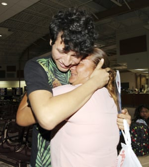 Francisco Galicia is reunited with his mother Sanjuana Galicia at the McAllen, Texas, Central Station.