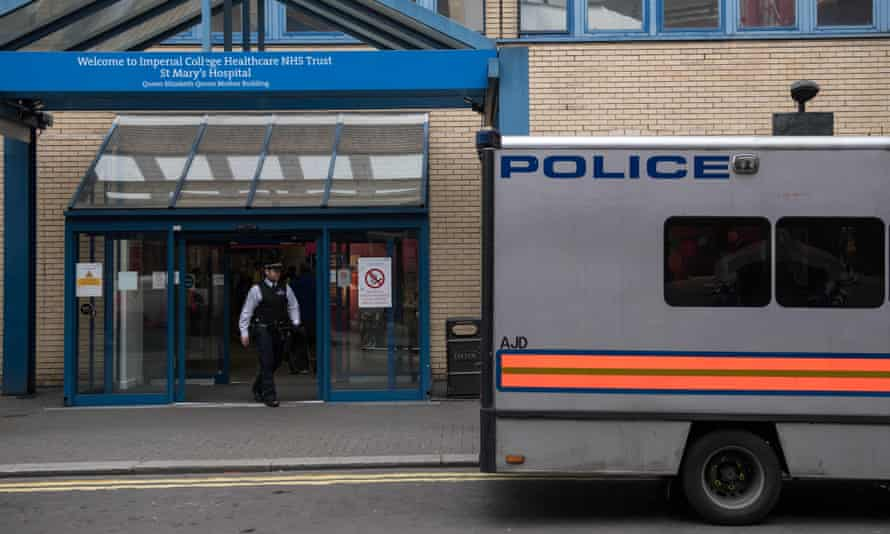 A police van outside St Mary's Hospital in London