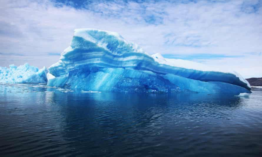 Calved icebergs from the nearby floating on the water in Qaqortoq, Greenland. Climate change is taking place in the Arctic faster than anywhere else, research shows.
