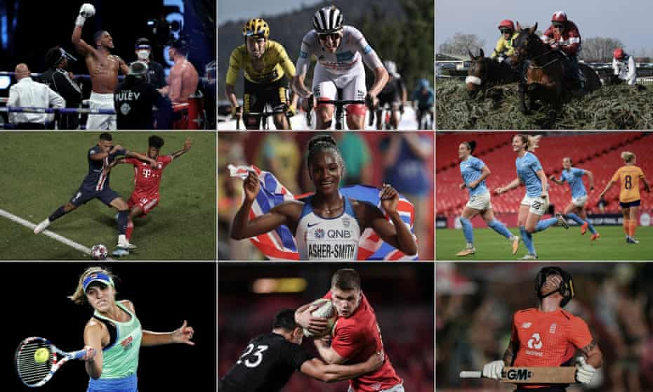 Anthony Joshua celebrates beating Kubrat Pulev, Slovenia's Tadej Pogacar, Davy Russell on Tiger Roll, Manchester City's Sam Mewis, Ben Stokes, Owen Farrell of the British & Irish Lions, Sofia Kenin of the US, Bayern Munich's Kingsley Coman and Dina Asher-Smith of Great Britain.