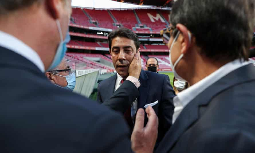 Rui Costa is greeted by Benfica officials last Friday after being appointed as the club's president.