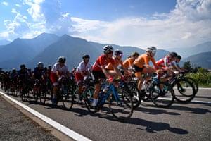 Trento, Italy: Netherlands' Ellen Van Dijk leads the pack before she winning the European women's Elite road cycling championships
