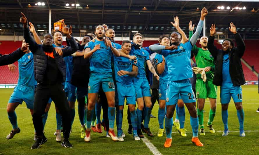 Barnet players celebrate the win at Sheffield United that earned a fourth-round FA Cup tie at home to Brentford.
