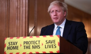 Boris Johnson during Covid briefing. The PM said one in 50 in the UK infected with coronavirus.