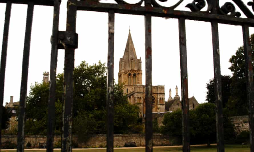 Walled Garden and The Cathedral looking through a gate Christ Church College Oxford