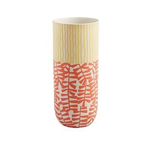 Orange and yellow patterned ceramic cylinder vase
