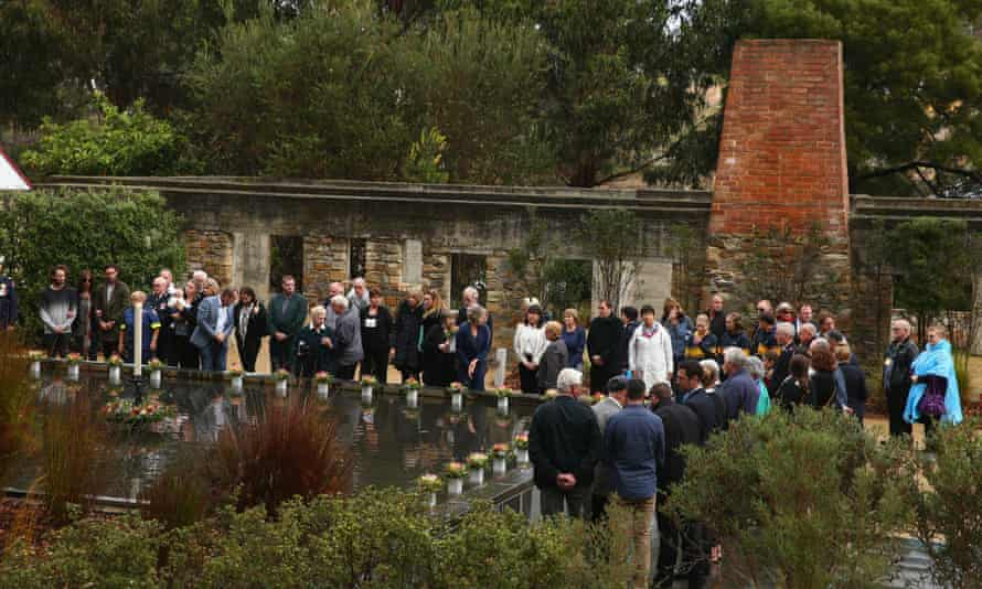 Family and community members lay floral tributes to remember the victims of the Port Arthur massacre during the 20th anniversary commemoration service on 28 April 2016