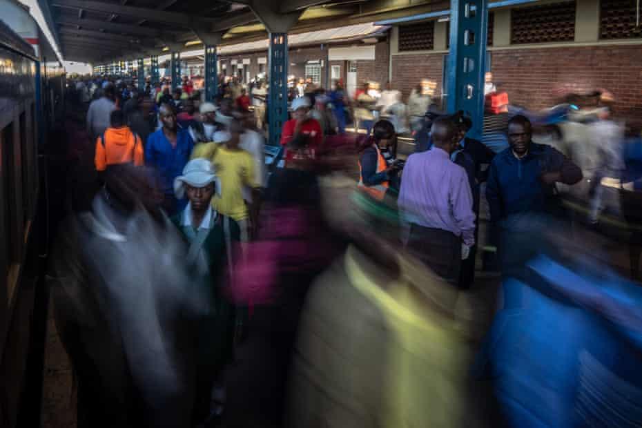 Passengers disembark at Bulawayo's busy main station