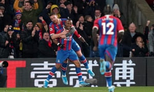 Jordan Ayew is congratulated after his superb late goal saw Crystal Palace take all three points against West Ham.