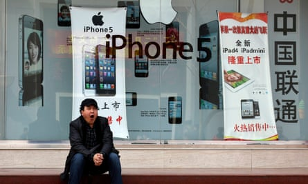 A Chinese mobile phone shop advertising Apple products