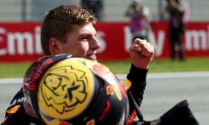 Max Verstappen celebrates winning the Austrian Formula One Grand Prix.