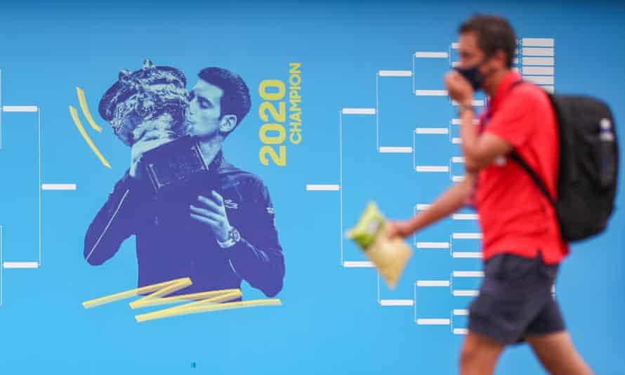 A mural of Novak Djokovic
