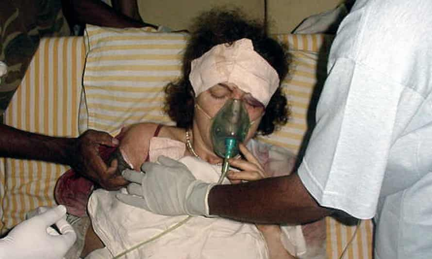 Being treated in hospital in Sri Lanka in 2001, where she lost an eye after being hit by a rocket-propelled grenade.