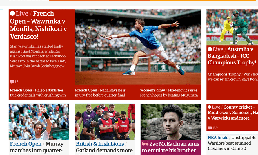 Sports live blogs appearing on the guardian website