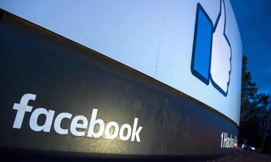 A sign is seen at the entrance to Facebook's corporate headquarters location in Menlo Park, California.